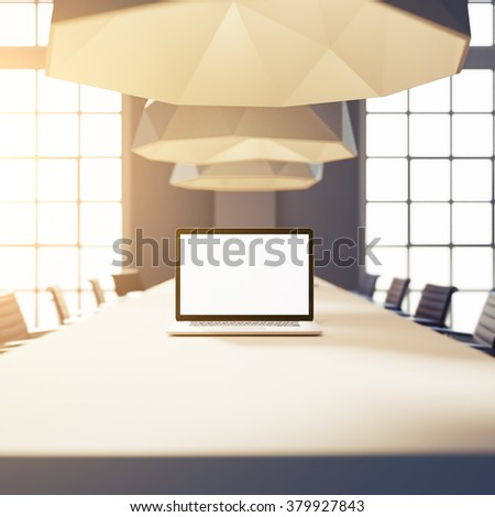 Laptop with empty screen, mockup. 3d render - stock photo
