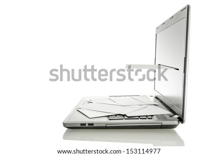 Laptop with envelope coming out of its monitor. Concept of email communication. Isolated over white background. - stock photo