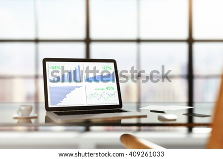 Laptop with financial statistics on a glass table with cup of coffee, online trading concept, 3D Rendering - stock photo