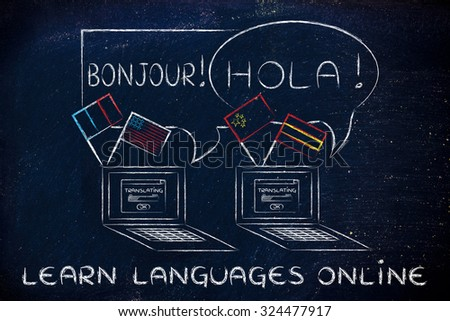 laptop with flags speaking foreign languages, concept of learning online - stock photo