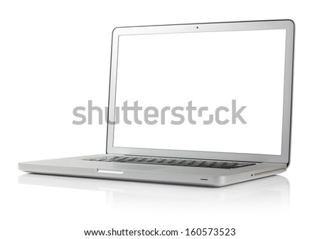laptop with four clipping paths - stock photo
