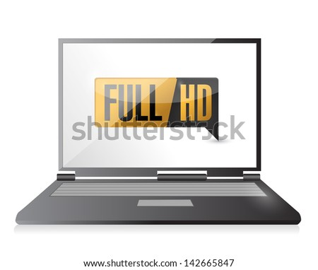 laptop with Full HD. High definition button. illustration design - stock photo