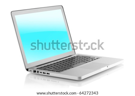 Laptop with glossy screen. Isolated on white background - stock photo