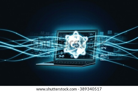 Laptop with internet broadband network - stock photo