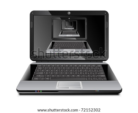 Laptop with it's own multiple images on the screen placed inside each other - stock photo