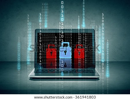 laptop with lock icons and binary code on screen - stock photo