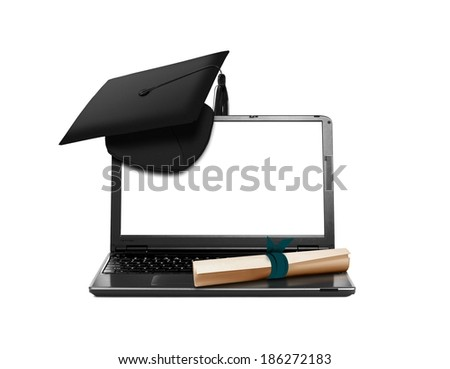 Laptop with Mortarboard and Scroll Education Concept - stock photo