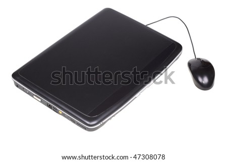 Laptop with mouse. Isolated on a white background - stock photo