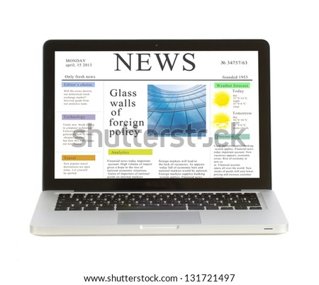 Laptop with news site  isolated on white background, copy space on display - stock photo