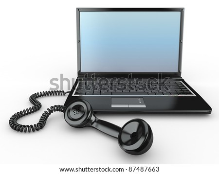 Laptop with old-fashioned phone receiver on white background. 3d - stock photo