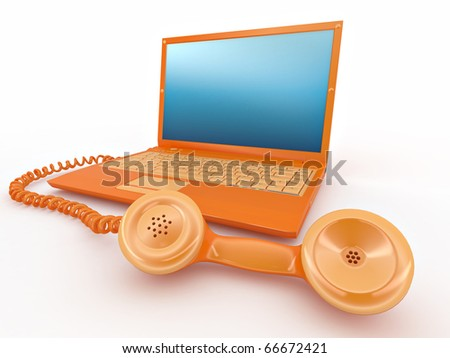 Laptop with old-fashioned phone reciever on white isolated background. 3d - stock photo