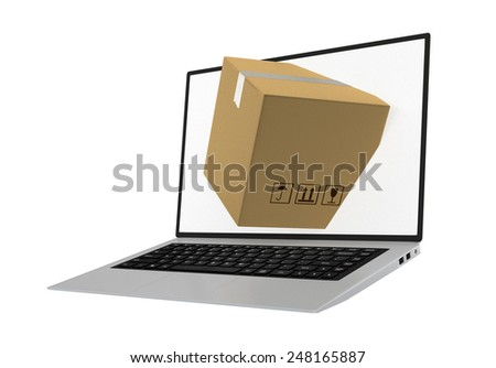 laptop with package shipment demonstrating the concept of online ordering of products - stock photo