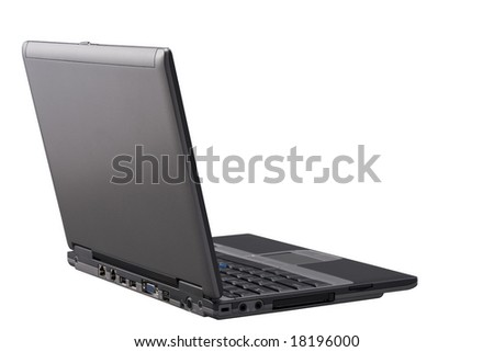 Laptop with path isolated on a White background. - stock photo