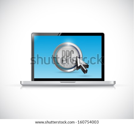 laptop with pay per click button. ppc concept illustration design - stock photo