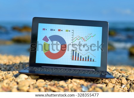 laptop with stock chart on a ocean background - stock photo
