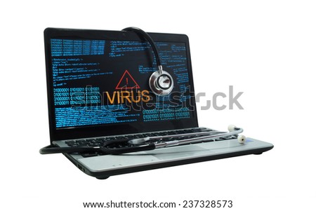 Laptop with virus and stethoscope - stock photo