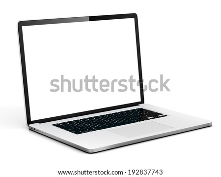 Laptop with white screen. - stock photo