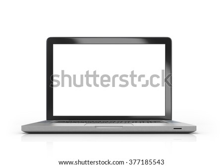 Laptop with white screen isolated on white background - stock photo