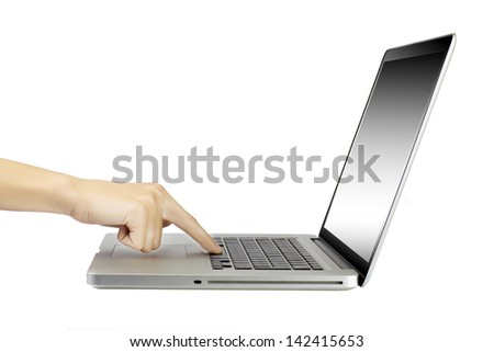 laptop with woman hand isolated on white background - stock photo