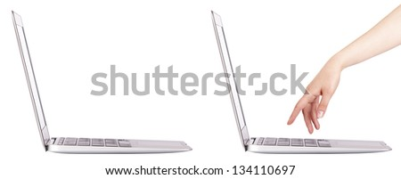laptop with woman hand isolated set - stock photo