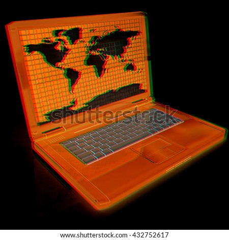 Laptop with world map on screen on a black background. 3D illustration. Anaglyph. View with red/cyan glasses to see in 3D. - stock photo