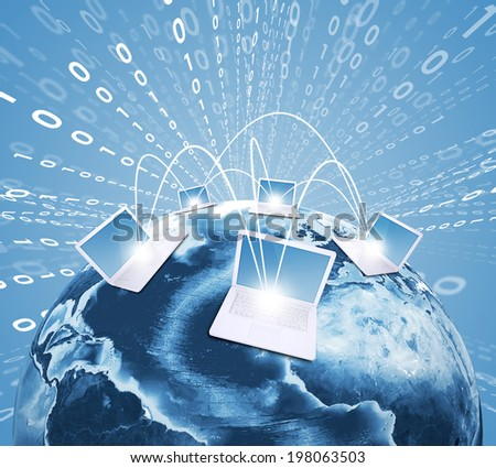 Laptops with Earth against world map background. Connections and network. Elements of this image are furnished by NASA - stock photo