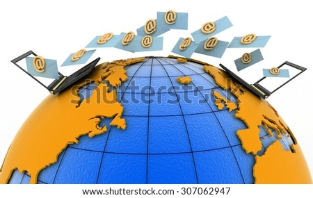 Laptops with incoming e-mails on the globe. 3d render illustration - stock photo