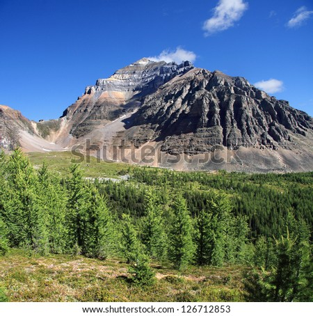 Larch Valley,  Temple Mountain and  Sentinel Pass Lake Louise, Banff National Park, Alberta, Canada - stock photo