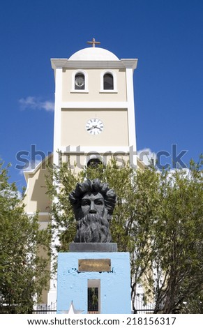 LARES, PUERTO RICO - JANUARY 31:  Ramon E. Betances  statue in Plaza of the revolution and San Jose Church.   Taken January 31, 2011 in Lares, Puerto Rico. - stock photo