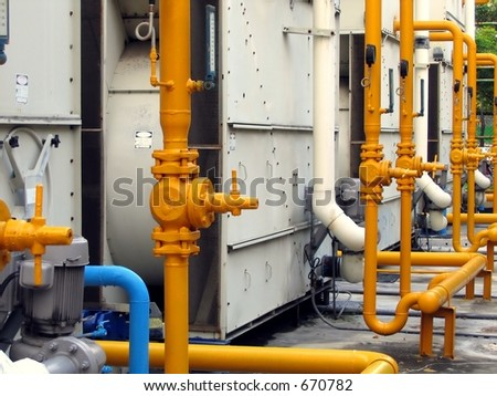 Large Air-Conditioning Cooling Tower -- such as can be seen at public facilities - stock photo