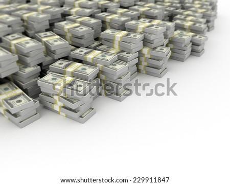 Large amount od money US dollar bills on white background  - stock photo