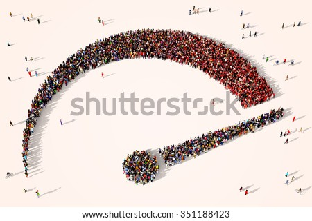 Large and diverse group of people gathered together in the shape of a speedometer - stock photo