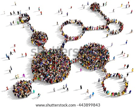 Large and diverse group of people seen from above gathered together in the shape of a diagram, 3d illustration - stock photo