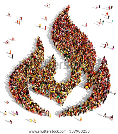 Large and diverse group of people seen from above gathered together in the shape of a fire symbol - stock photo