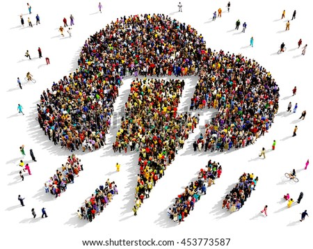 Large and diverse group of people seen from above gathered together in the shape of a rainstorm symbol, 3d illustration - stock photo