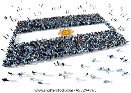 Large and diverse group of people seen from above gathered together in the shape of Argentina flag, 3d illustration - stock photo