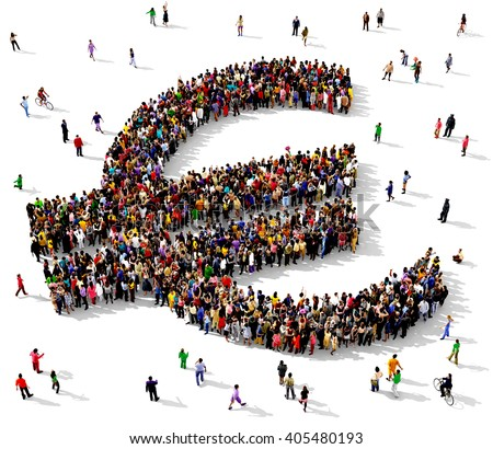 Large and diverse group of people seen from above gathered together in the shape of the Euro sign, 3d illustration - stock photo