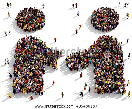 Large and diverse group of people seen from above gathered together in the shape of two friends shaking hands, 3d illustration - stock photo