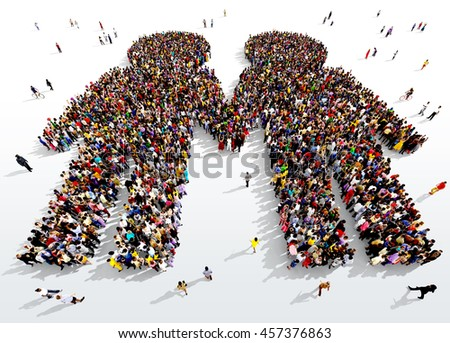 Large and diverse group of people seen from above gathered together in the shape of two people holding hands, 3d illustration - stock photo