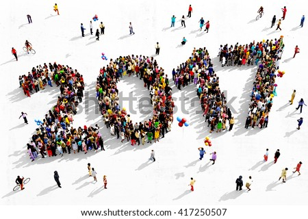 Large and diverse group of people seen from an aerial perspective, gathered together in the shape of number 2017, 3d illustration - stock photo