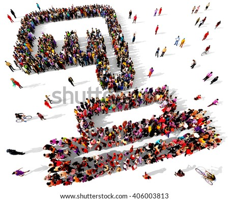Large and diverse group of people seen from an aerial perspective gathered together in the shape of a finger pushing a red button, 3d illustration - stock photo