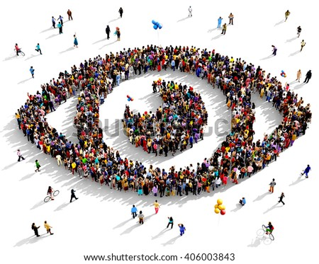 Large and diverse group of people seen from an aerial perspective gathered together in the shape of an eye, 3d illustration - stock photo
