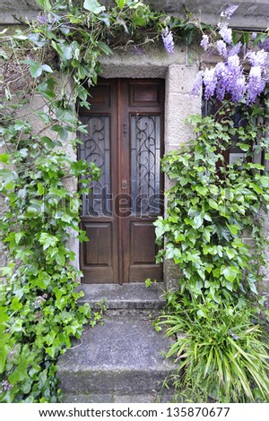 Large and stately wooden door and garden flowers by Combarro, Sp - stock photo