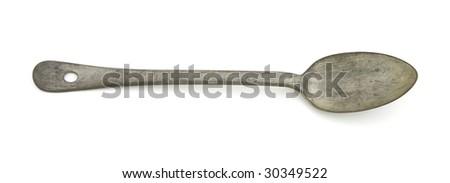 Large antique spoon - stock photo
