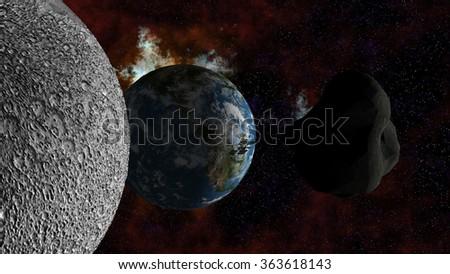 Large Asteroid passing the moon and approaching Earth. Elements of this image furnished by NASA. - stock photo