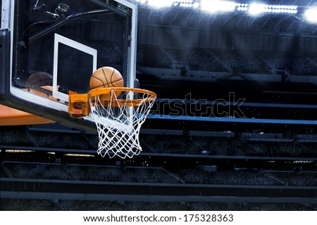 Large basketball arena with copy space - stock photo