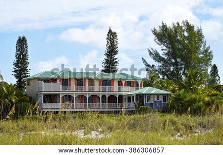 Large Beach House with two decks facing the ocean - stock photo