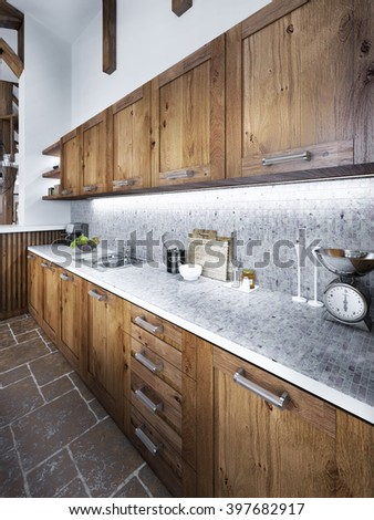 Large beautiful kitchen in a rustic style with an island and hood and built-in appliances. 3D render. - stock photo