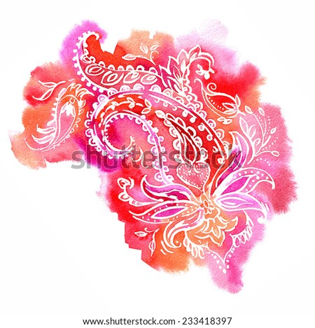 large beautiful, very detailed traditional paisley illustration in a modern twist. watercolor background in shades of red and pink, white stroke ornament.  - stock photo