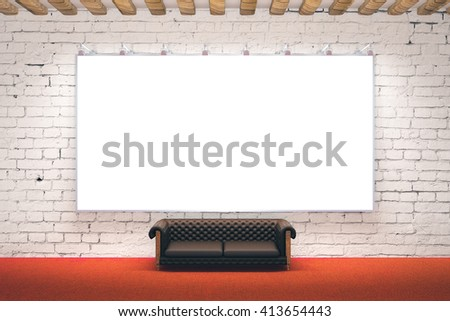 Large blank picture frame in room with brick wall, wood plank ceiling, red carpet flooring and leather sofa. Mock up, 3D Rendering - stock photo